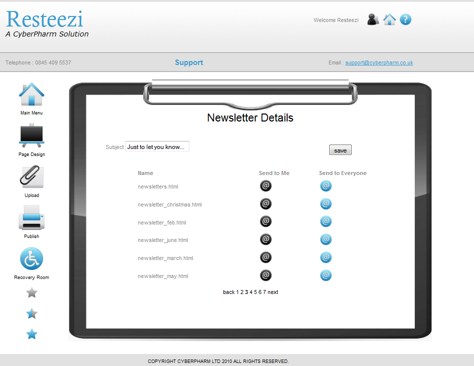 Resteezi on-line newsletter sending screen shot