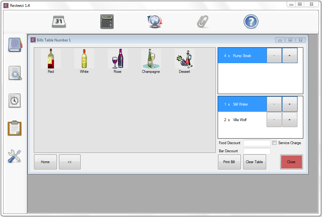 Interface screen shot for creating or updating bills